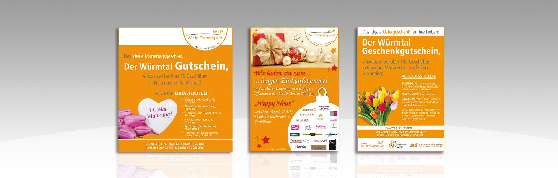 Hier sind verschiedene Anzeigen von Wir in Planegg abgebildet.