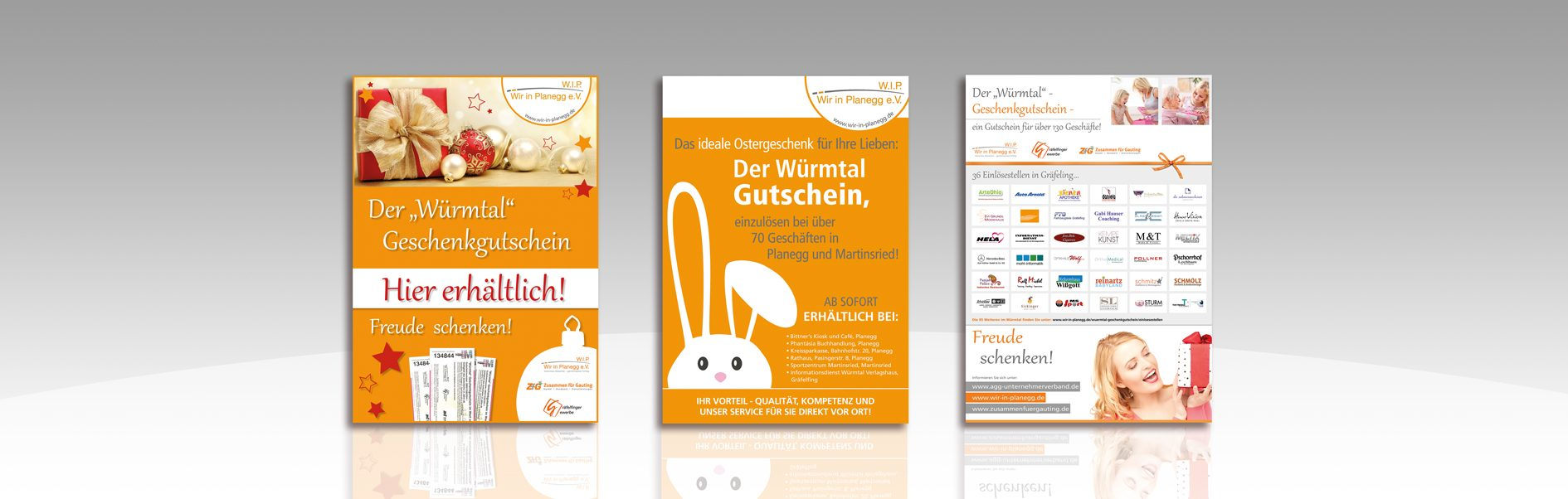 Hier sind verschiedene Plakate von Wir in Planegg abgebildet.