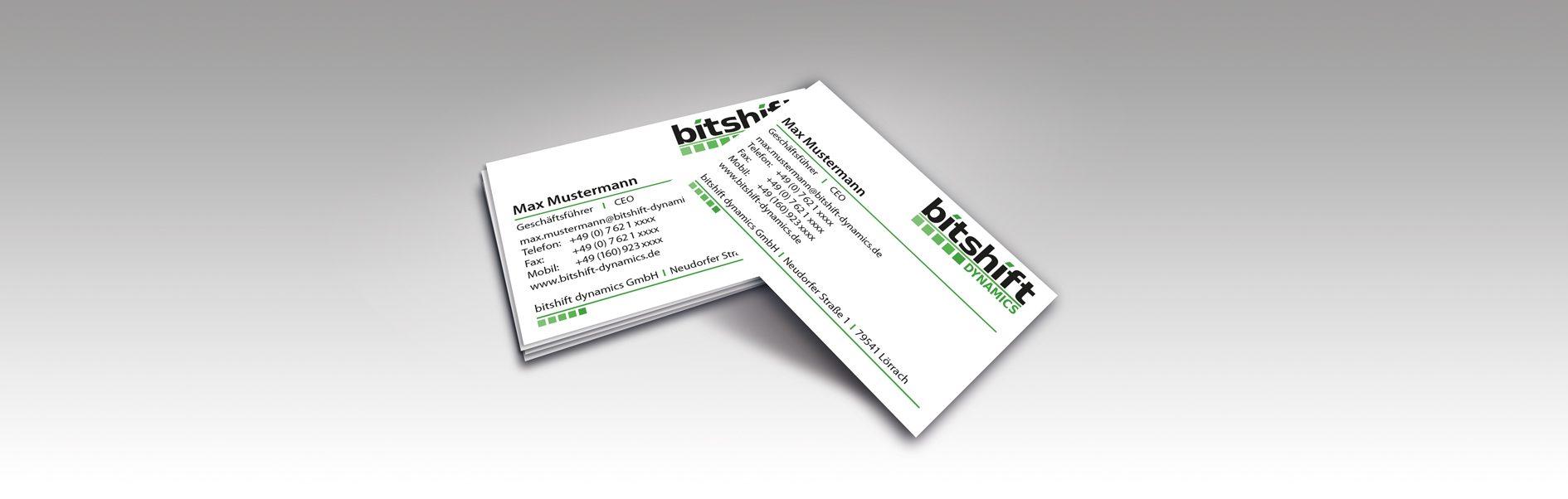 Hier sind die neuen Bitshift Visitenkarten zu sehen.