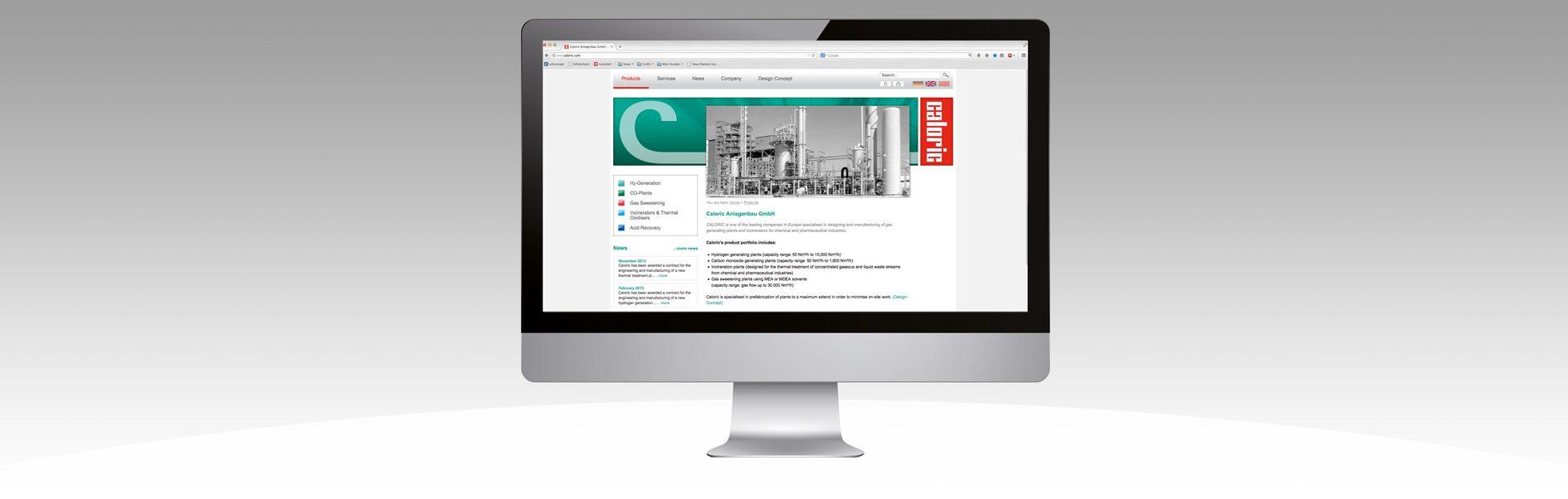 Hier ist der Internetauftritt unseres Kunden Caloric abgebildet.
