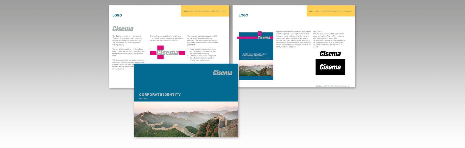 Hier ist das Corporate Design Manual von Cisema abgebildet.