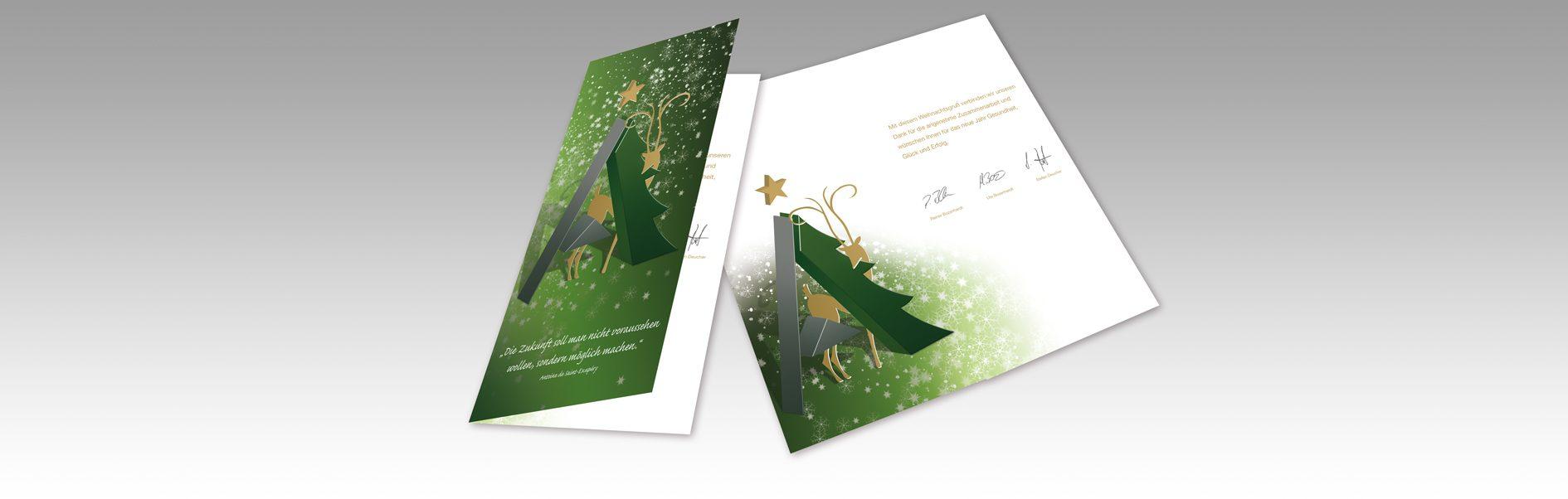 Hier ist die Weihnachtskarte unseres Kunden Private Akademie abgebildet.