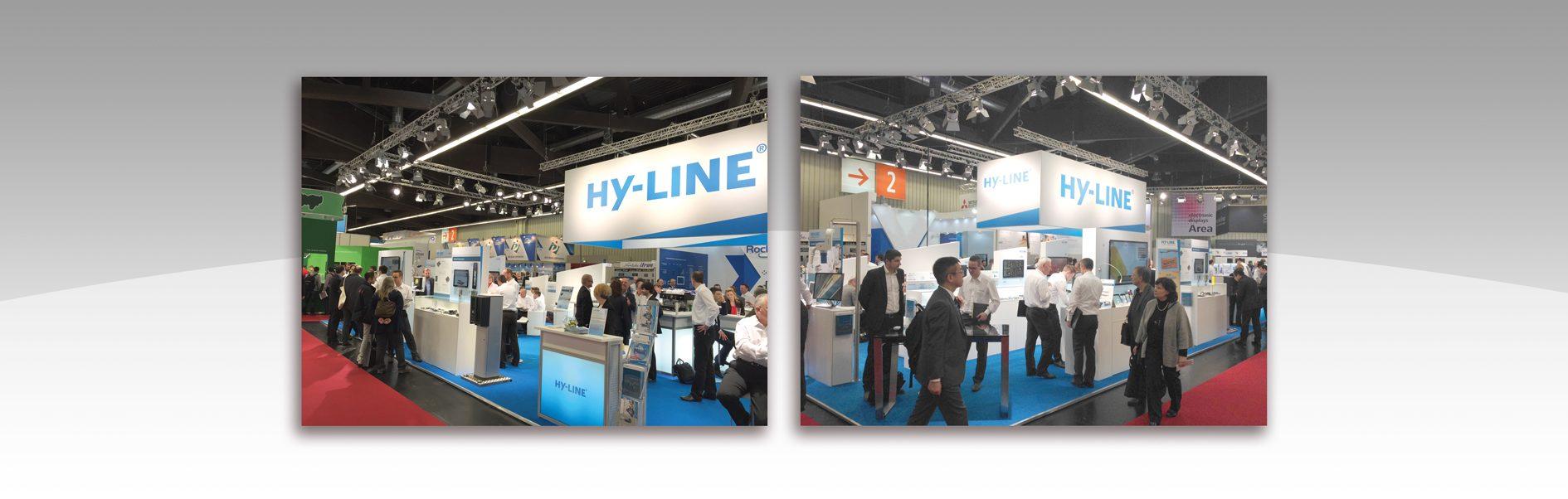 Hier sind zwei Messebilder von HY-LINE abgebildet.