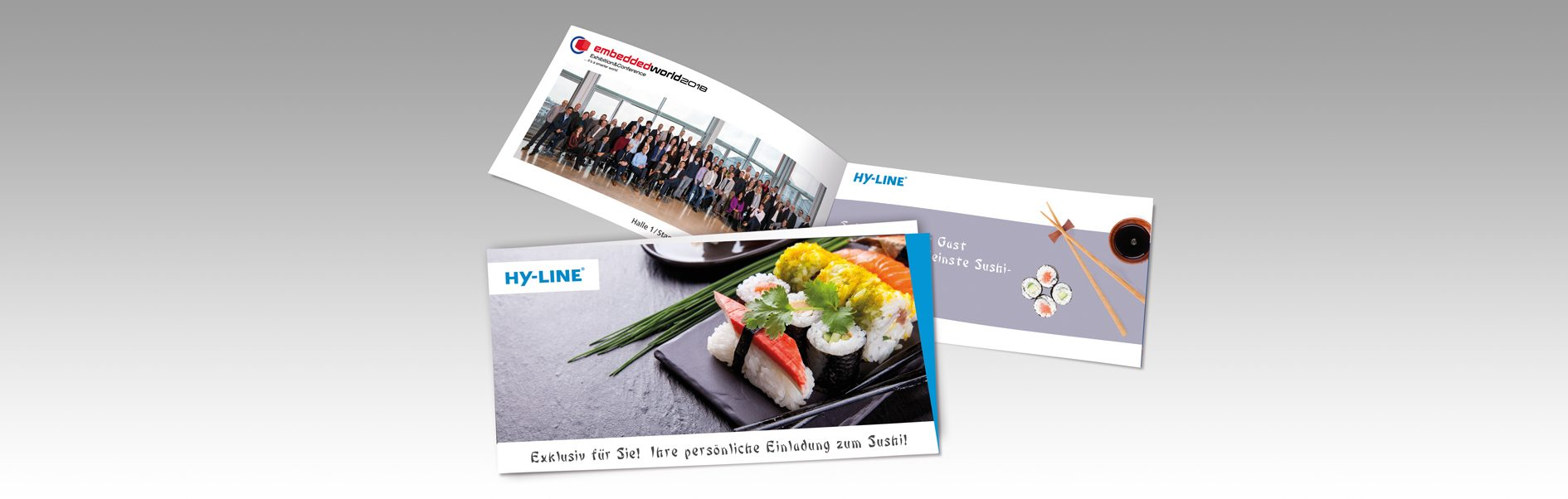 Hier sind die Einladungskarten von HY-LINE zur embedded World abgebildet.