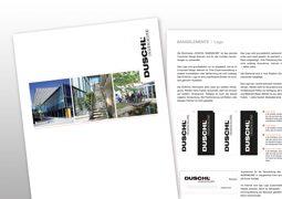 Hier ist das Corporate Design Manual von Duschl zu sehen.