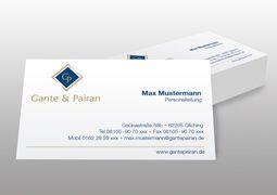 Hier werden die Gante&Pairan Visitenkarten zur Geltung gebracht.