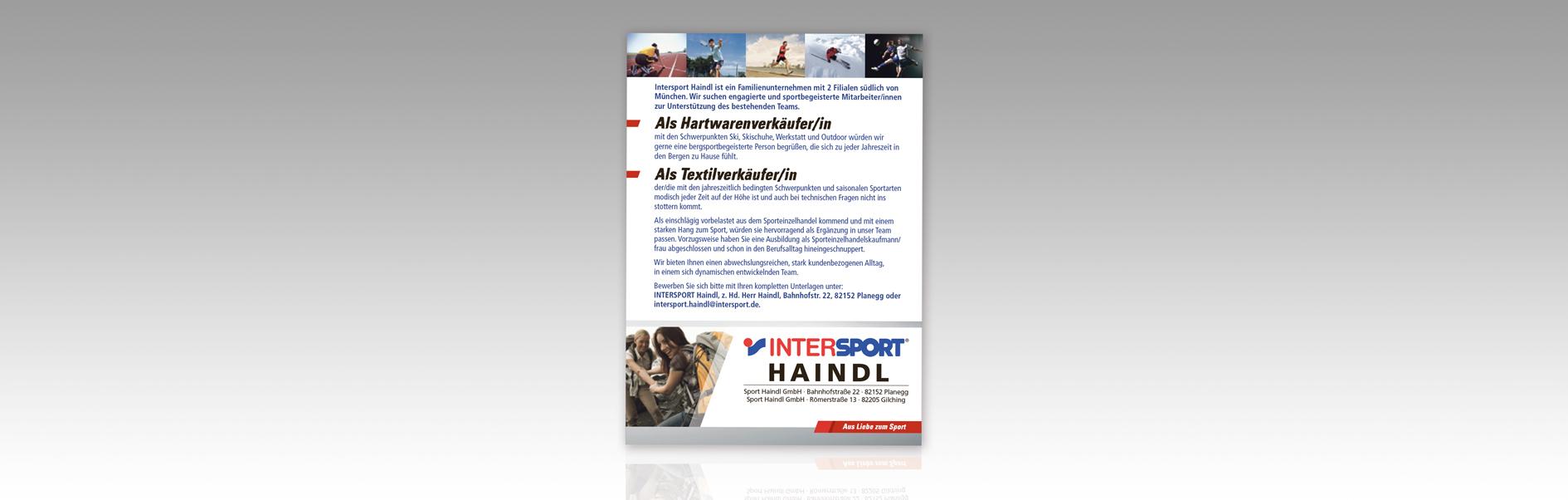 Hier ist die Personalanzeige unseres Kunden Intersport Haindl abgebildet.