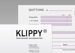 Hier ist ein Ausschnitt der Geschäftsausstattung von Klippy dargestellt.