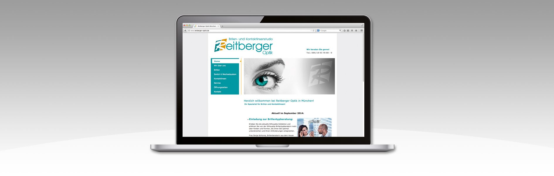 Hier ist die Home der Reitberger Optik website abgebildet.