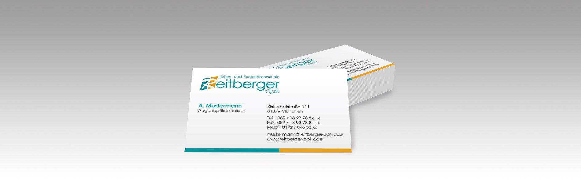 Hier ist ein Beispiel für die Reitberger Optik Visitenkarte abgebildet.
