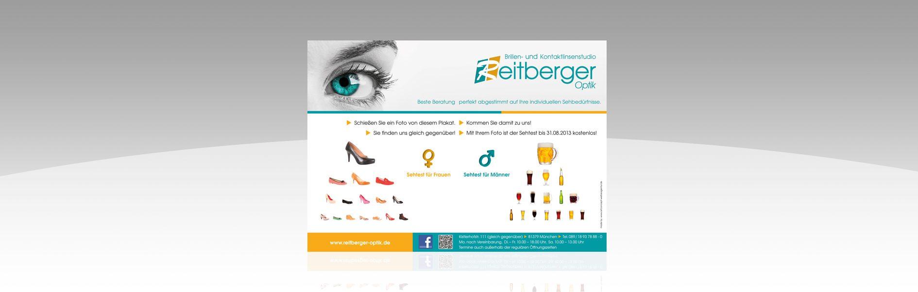 Hier ist das Reitberger Optik Plakat abgebildet.