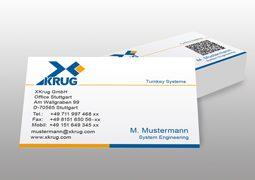 Hier ist ein Beispiel für die XKrug Visitenkarten abgebildet.