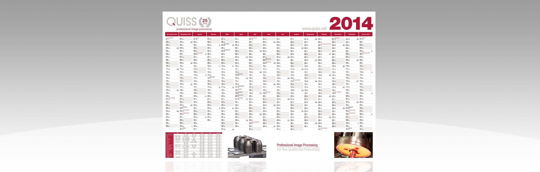Hier ist der Quiss Wandkalender 2014 abgebildet.