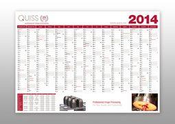 Hier ist der Wandkalender 2014 von QUISS dargestellt.