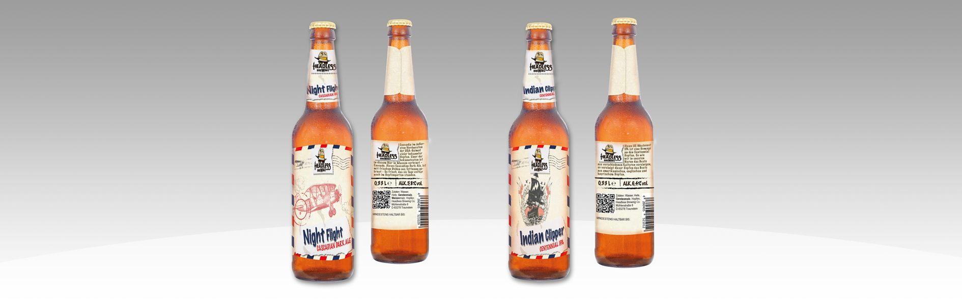 Hier sind vier Etiketten vom Headless Brewing abgebildet.
