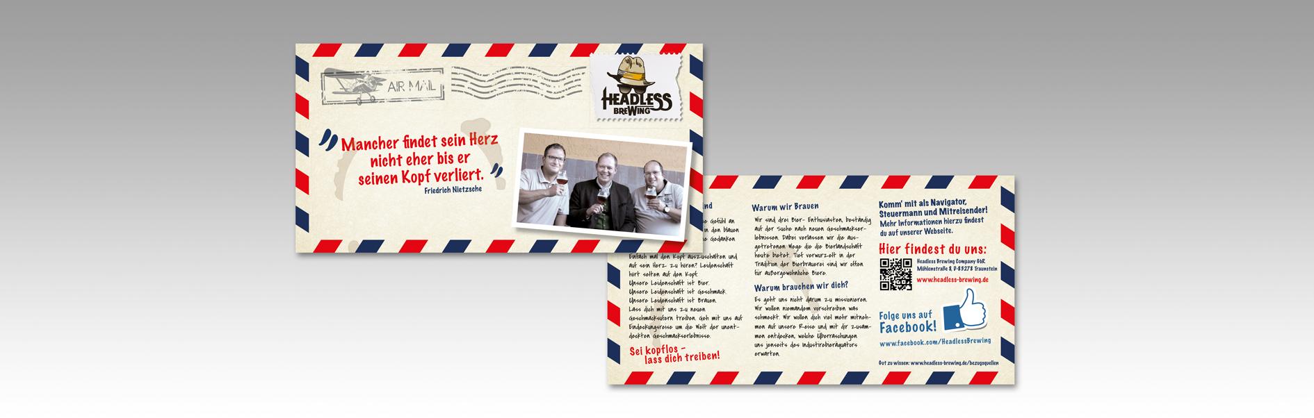 Hier ist der Flyer unseres Kunden Headless Brewing abgebildet.