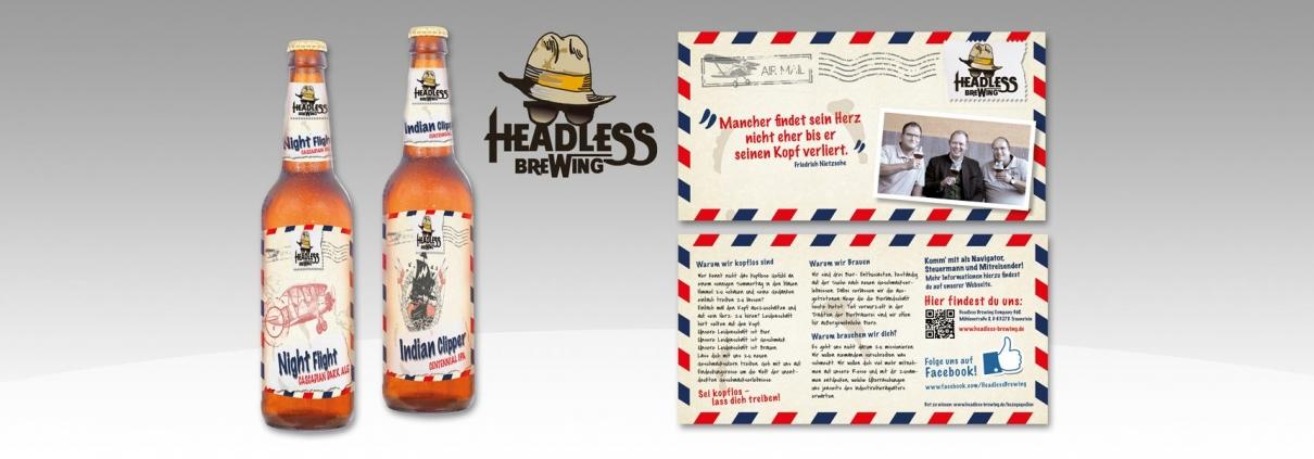 Das Logo, der Flyer sowie 2 der 5 Etiketten der Headless Brewing Company werden hier dargestellt.