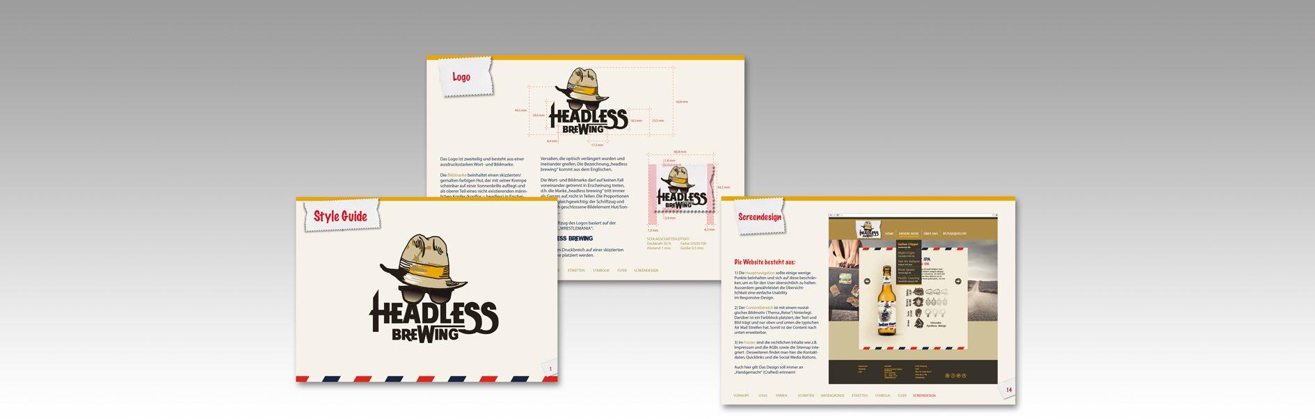 Hier sind 3 Beispielseite des Headless Brewing Style Guides abgebildet.