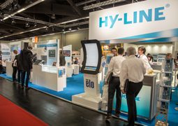 Ein Foto des HY-LINE Messestands auf der Embedded World.