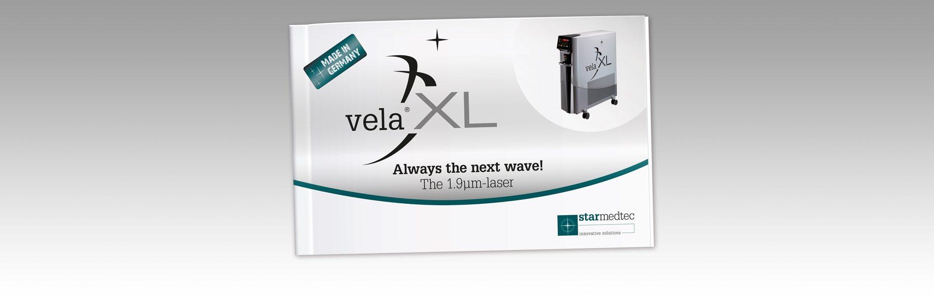 Hier ist das Cover der StarMedTec Produktbroschüre Vela XL abgebildet.