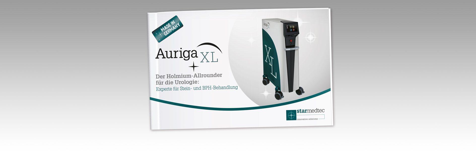 Hier ist das Cover der StarMedTec Produktbroschüre Auriga XL abgebildet.