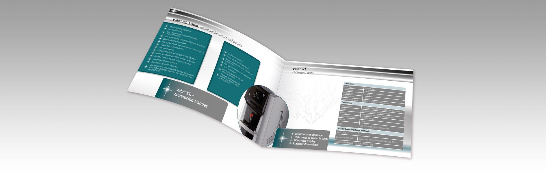 Hier ist eine Innenseite der StarMedTec Produktbroschüre Vela XL abgebildet.