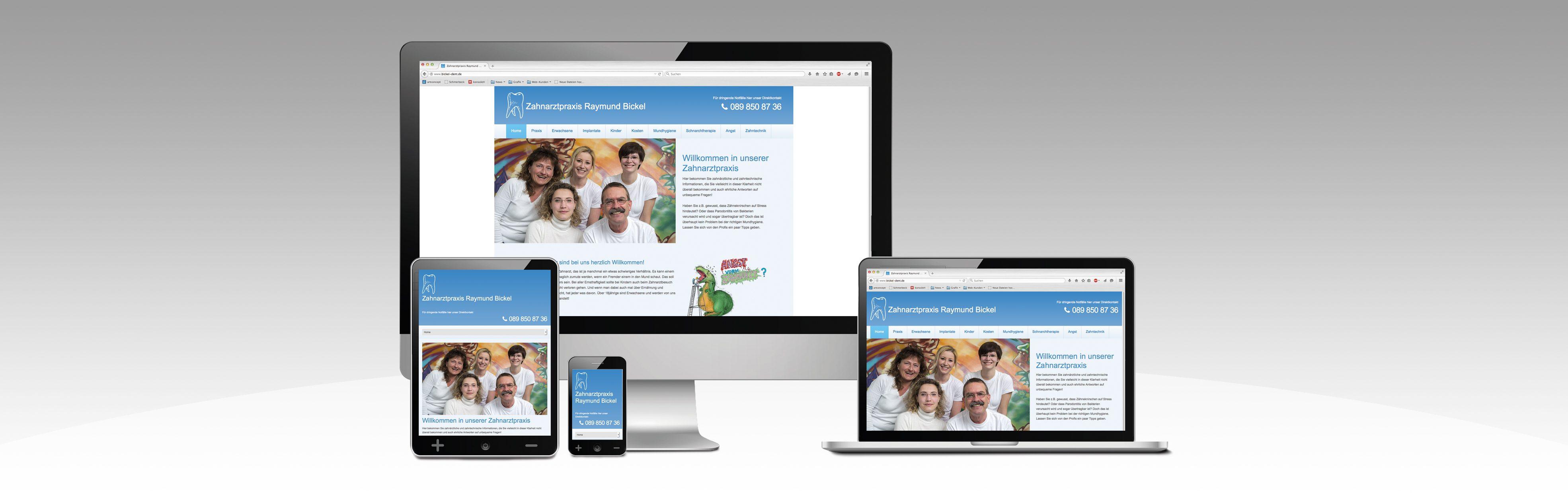 Hier ist der Internetauftritt unseres Kunden Zahnarztpraxis Bickel in verschiedenen Ausgabegeräten dargestellt.