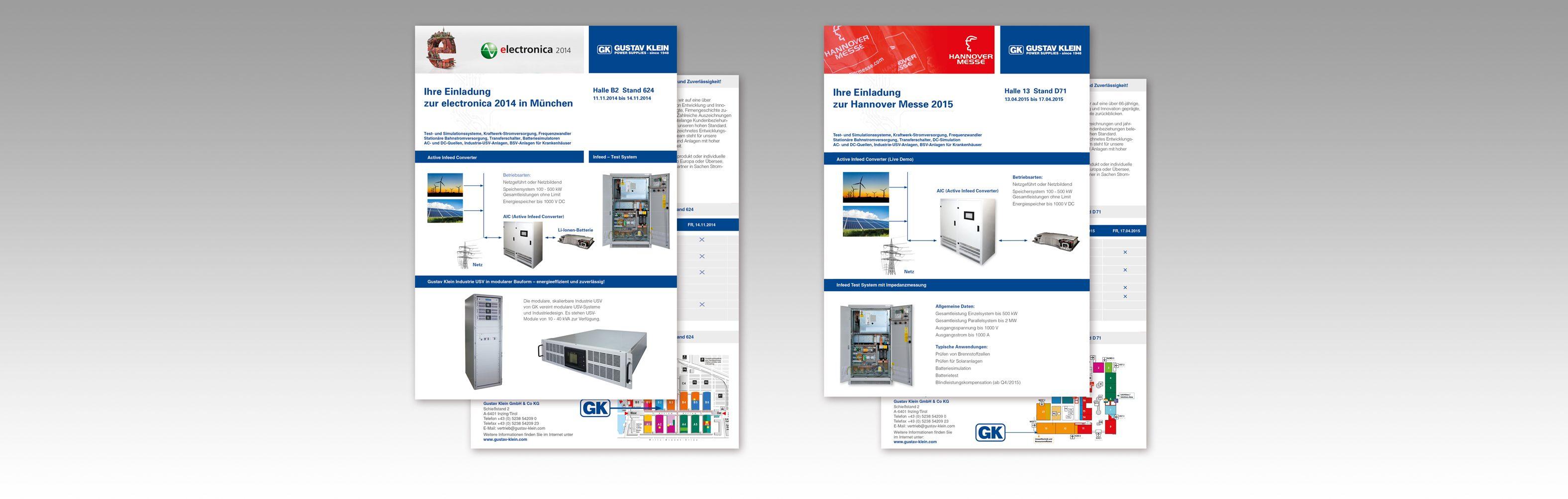 Hier sind zwei verschiedene Einladungsflyer unseres Kunden Gustav Klein abgebildet.