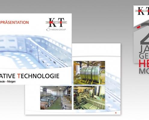 Hier sind zwei Folien der KT Kabelträger PowerPoint Präsentation und das Jubiläumslogo abgebildet.