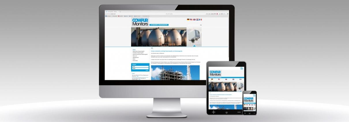 Es ist der neue Internetauftritt unseres Kunden Compur Monitors abgebildet.