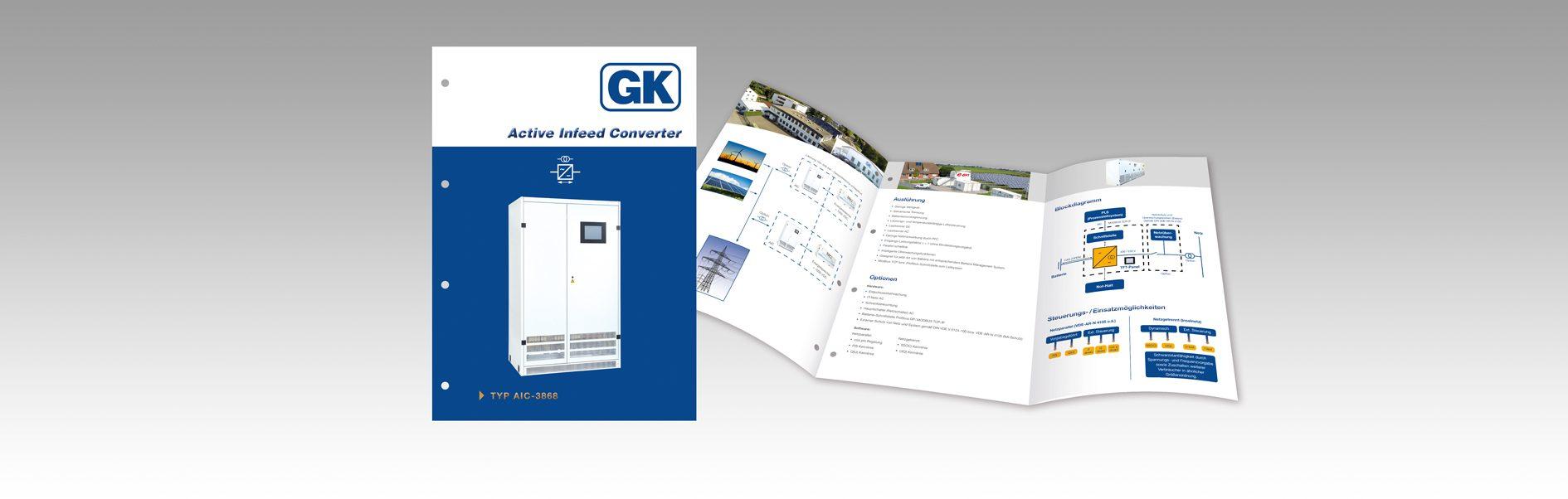 Hier ist die Gustav Klein Produktbroschüre Active Infeed Converter abgebildet.