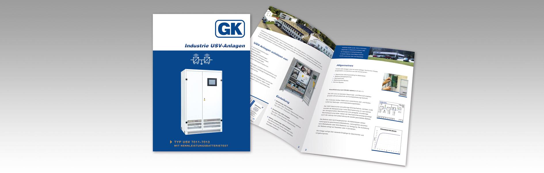 Hier ist die Gustav Klein Produktbroschüre Industrie USV-Anlagen abgebildet.
