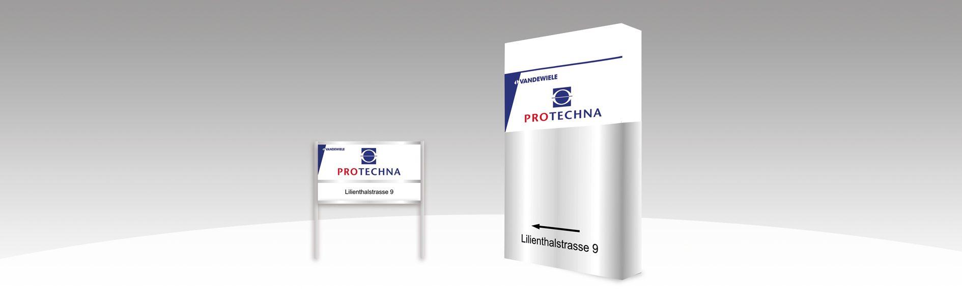 Hier ist die Außenbeschriftung von Protechna abgebildet.