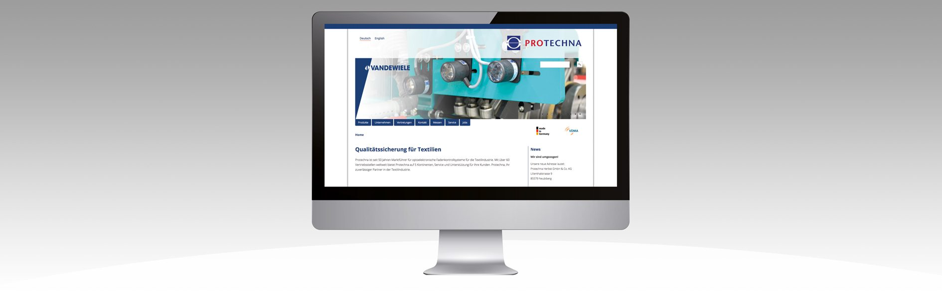 Hier ist der Internetauftritt von Protechna abgebildet.