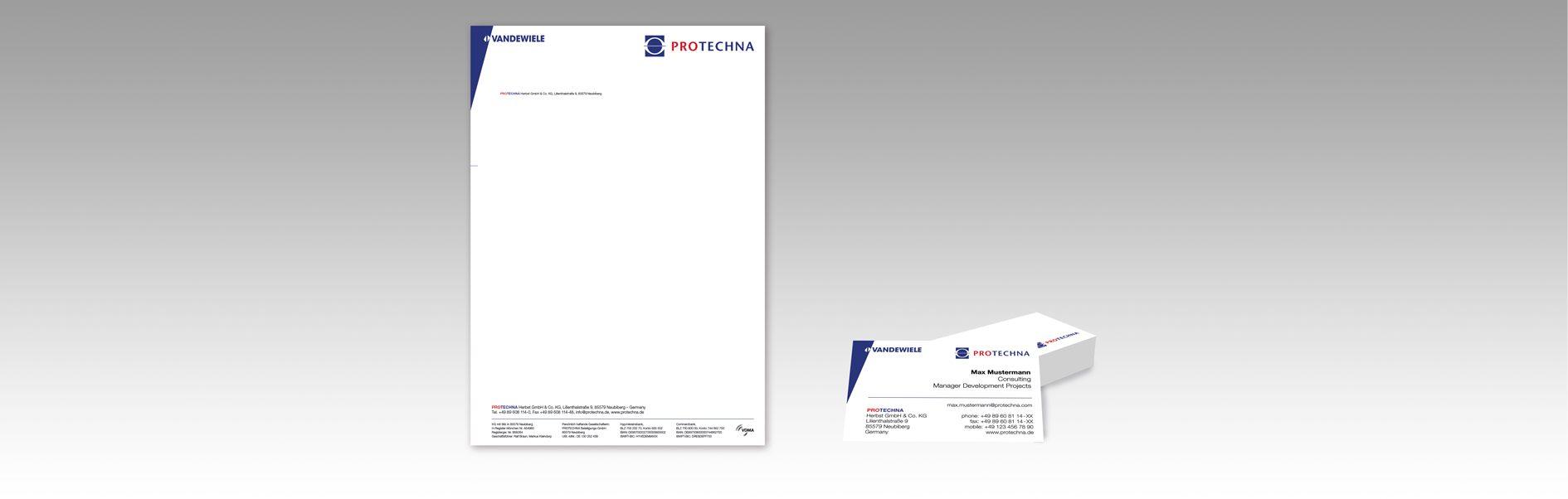 Hier ist die Geschäftsausstattung von Protechna abgebildet.