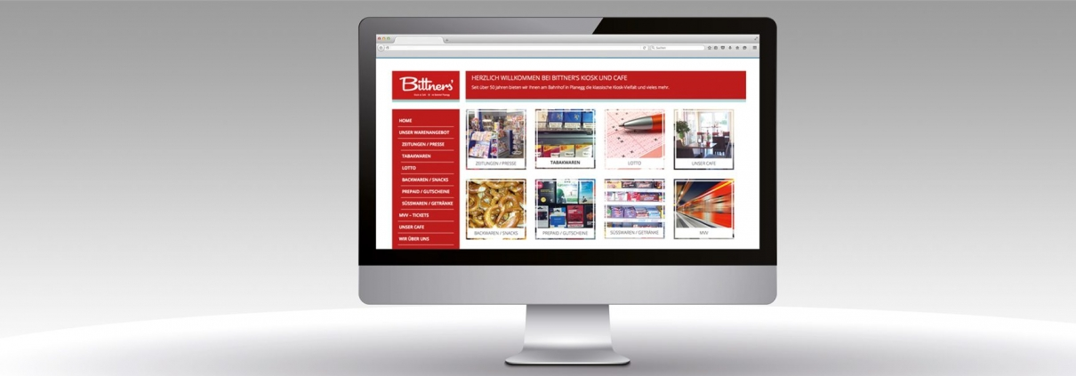 Hier ist der Internetauftritt von Bittners Kiosk abgebildet.