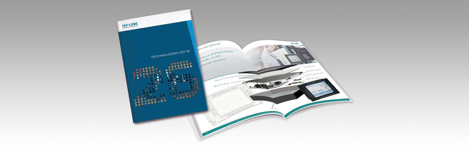"""Hier ist die Broschüre """"Technologien 2016"""" von HY-LINE abgebildet."""