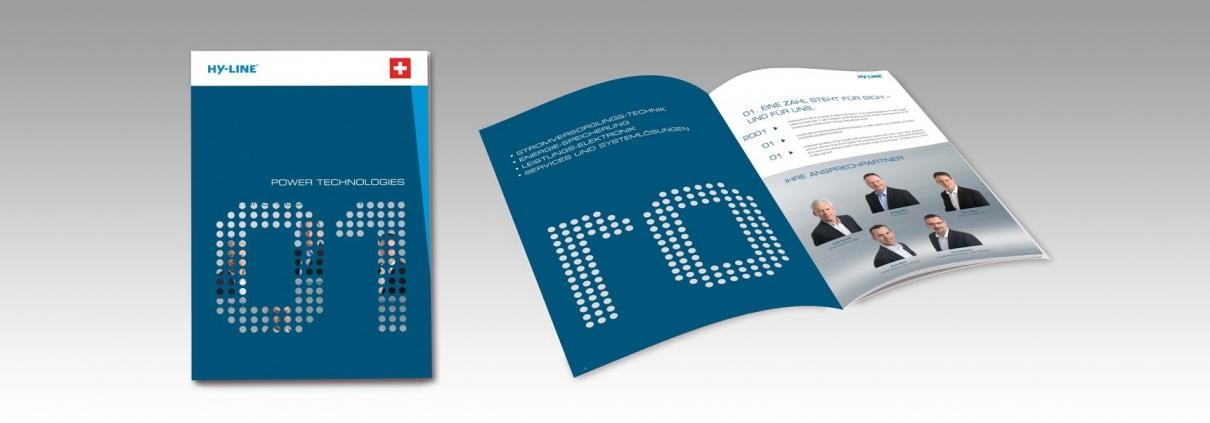 """Hier ist die Produktbroschüre """"Power Technologies"""" der HY-LINE AG abgebildet."""