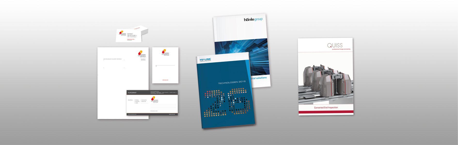 Hier ist ein Beispiel für eine Geschäftsausstattung, eine Broschüren und ein Produktfolder abgebildet.
