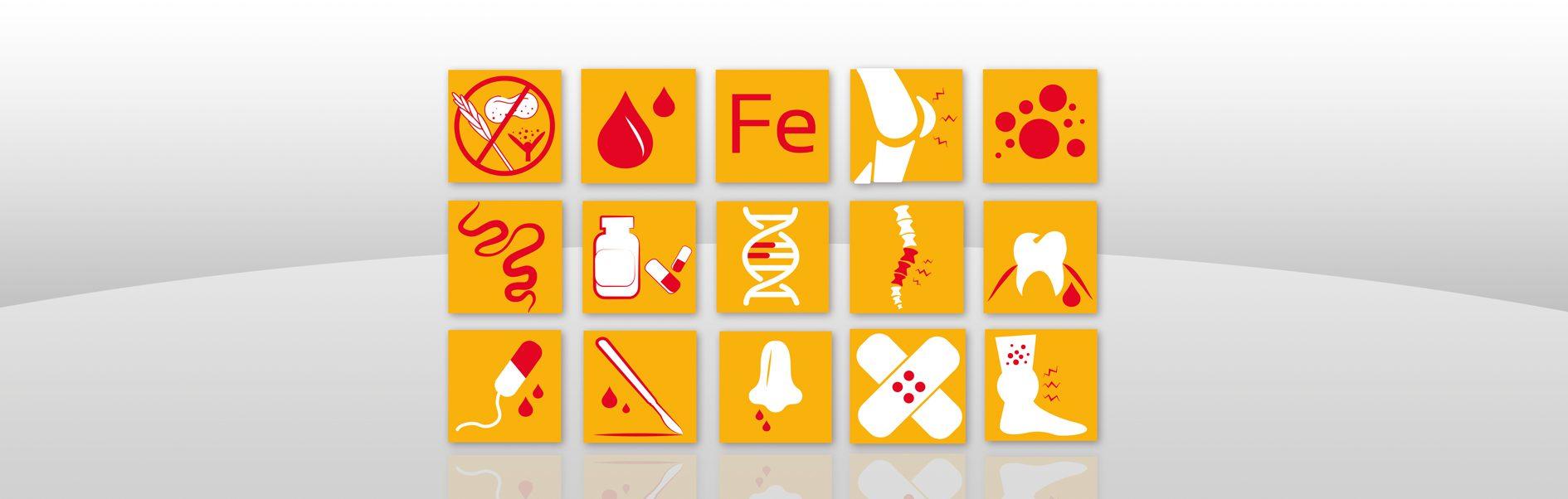 Hier sind 15 Piktogramme für das Sonnen-Gesundheitszentrum abgebildet.