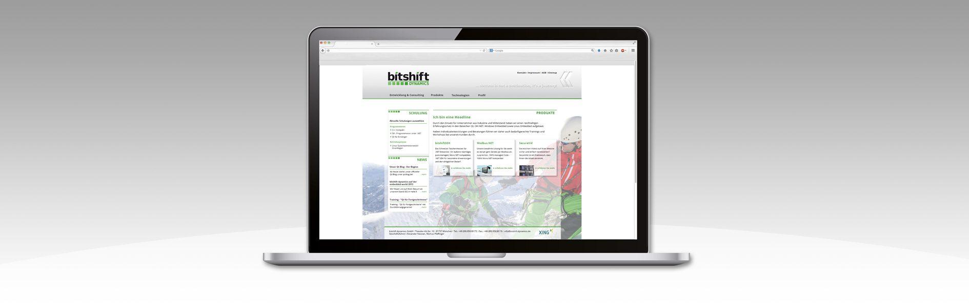 Hier ist das bitshift Screendesign abgebildet.