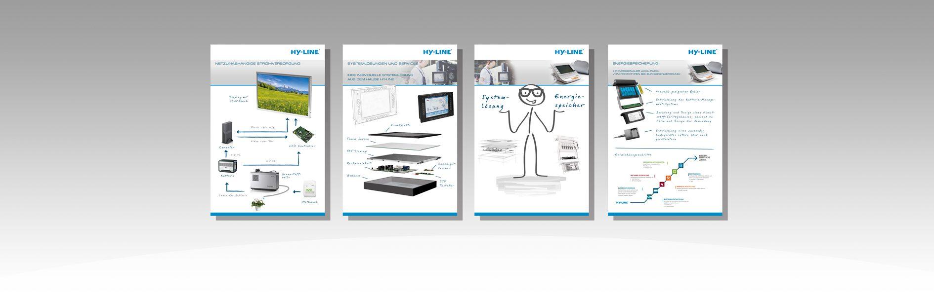 Hier sind die Messeplakate von HY-LINE abgebildet.
