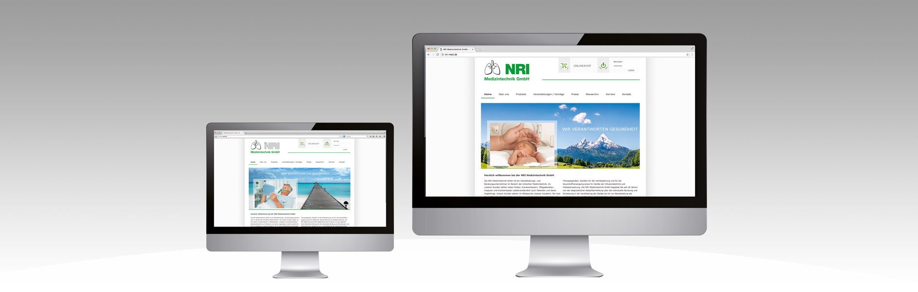 Hier ist der alte sowie der neue Internetauftritt von NRI abgebildet.