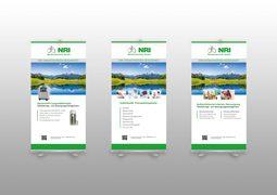 Auf dem Foto sind 3 Rollups für NRI Medizintechnik abgebildet