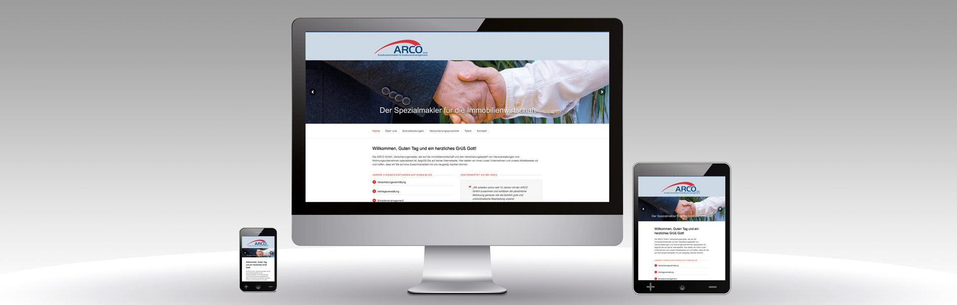 Hier ist der neue Internetauftritt von ARCO zu sehen.