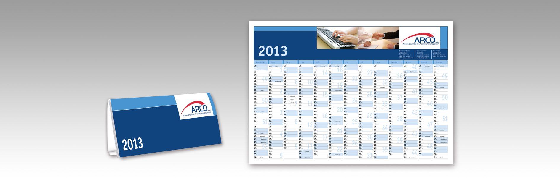 Hier ist der Arco Tisch- und Wandkalender von 2013 zu sehen.
