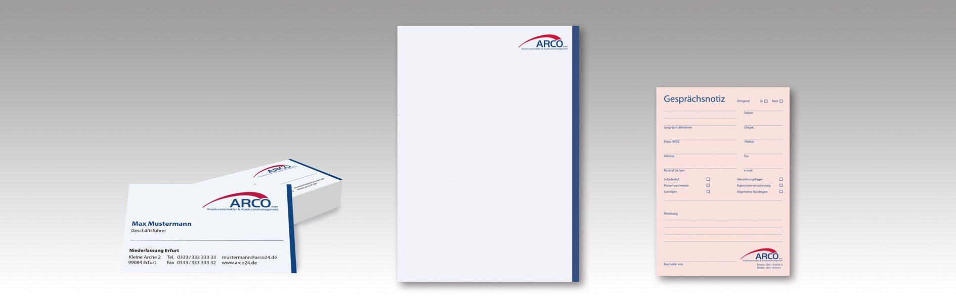 Hier sind die neuen Arco Visitenkarten, das Briefpapier und der Notizzettel zu sehen
