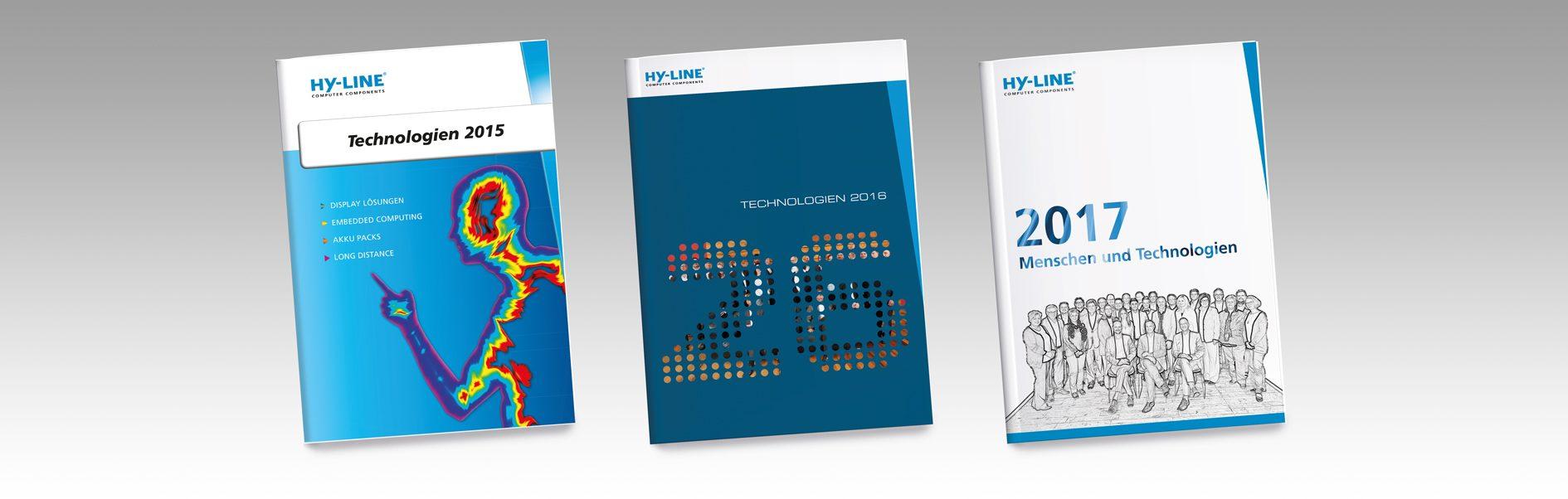 Hier sind die HY-LINE Produktbroschüren von den Jahren 2015-2017 zu sehen.