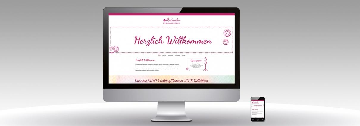 Hier ist der Internetauftritt des Modeatelier Eggenhofer Stübner abgebildet.