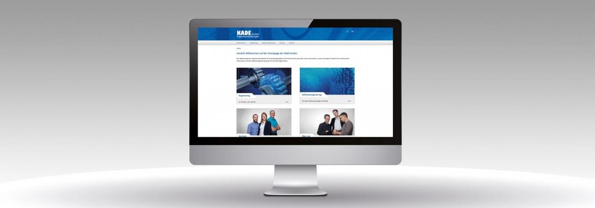 Hier ist der neue Internetauftritt der Kade GmbH abgebildet.